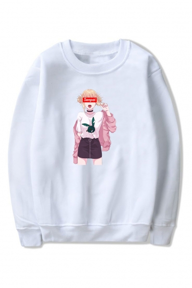 Letter SENPAI Comic Ahegao Figure Printed Round Neck Long Sleeve Casual Pullover Sweatshirts