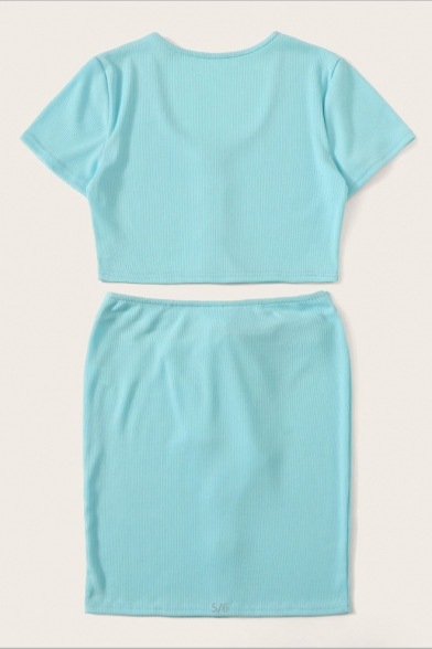Light Blue Simple Plain Scoop Neck Crop Tee with Mini Bodycon Skirt Button Down Knitted Co-ords