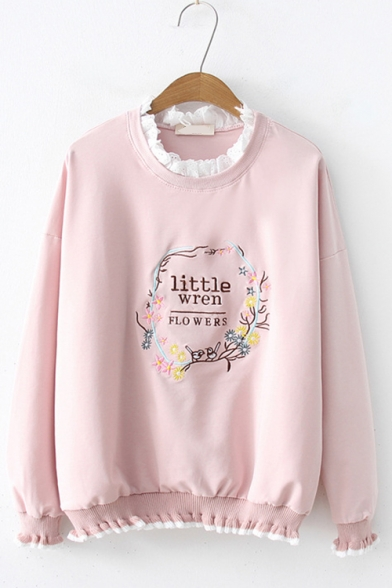 LITTLE WREN FLOWERS Letter Embroidered Lace Insert Trim Round Neck Long Sleeve Sweatshirt