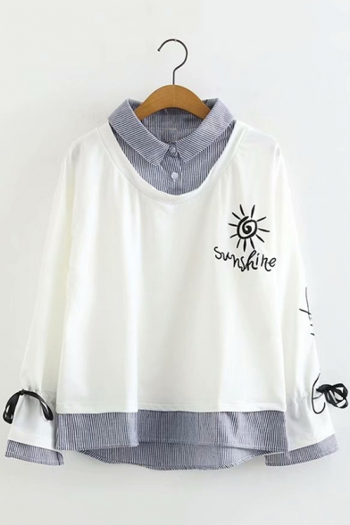 Long Sleeve Striped Patch Sunshine Letter Sun Embroidered Fake Two Piece Sweatshirt