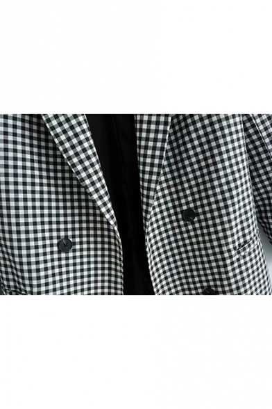 Loose Black and White Plaid Pattern Printed Double-Breasted Retro Long Blazer