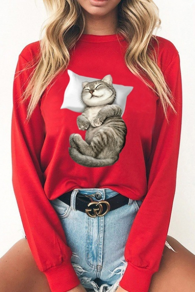 Lovely Cat Printed Long Sleeve Round Neck Pullover Sweatshirt