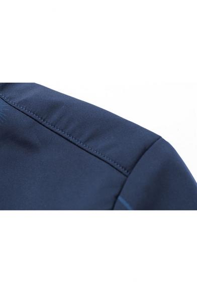 Men's Stylish Dandelion Print Long Sleeve Stand-Collar Zip Up Casual Baseball Jacket