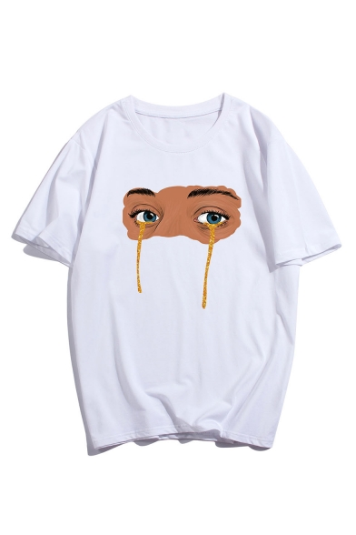 Mens Stylish Short Sleeve Round Neck Cartoon Eye Printed Loose Unisex Cotton T Shirt
