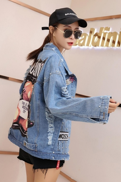 MOSCHINO Cartoon Bear Printed Diamonds Embellished Pocket Loose Denim Jacket Coat