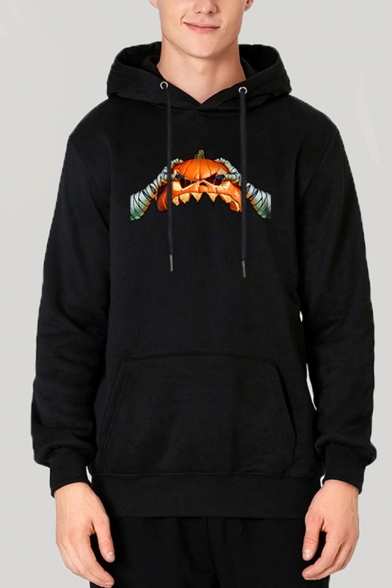 New Fashion Halloween Pumpkin Ghost Hand Printed Long Sleeve Casual Drawstring Hoodie