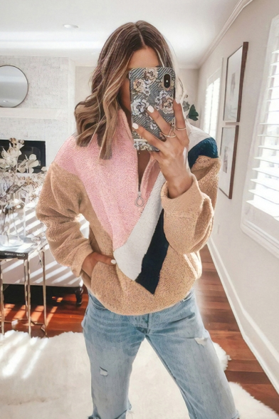New Stylish Half-Zip Stand Up Collar Color Block Long Sleeve Fluffy Teddy Sweatshirt