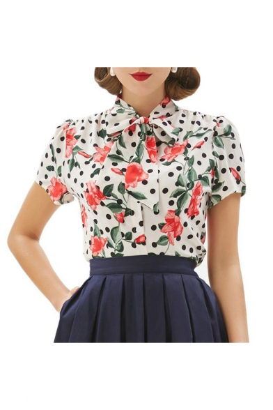 New Stylish Vintage Bow Front Short Sleeve Floral Polka Dot Print White Shirt