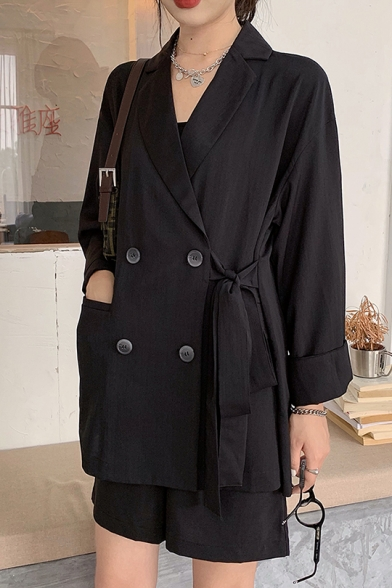 Notched Lapel Collar Tied Waist Double Breasted Leisure Side Pocket Blazer Coat