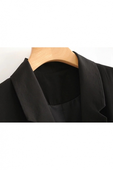 Officer Women Lapel Lapel Single Button Black Long Blazer Vest with Pockets