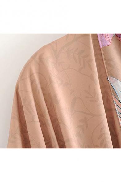 Peacock Printed Short Sleeve Tied Waist Side Split Khaki Longline Kimono Coat