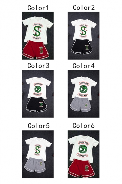 Popular Snake Logo Printed Casual T-Shirt with Dolphin Shorts Two-Piece Set