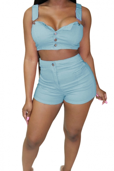 Sexy Straps Sleeveless Button Front with High Waist Plain Fitted Denim Co-ords