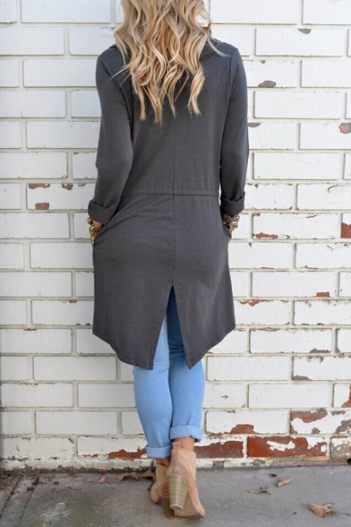 Solid Color Open Front Cardigan Long Sleeve Knit Slit Back Casual Long Coat