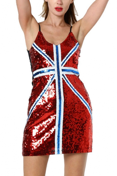 Stylish Flag Stripe Printed V-Neck Womens Sexy Nightclub Mini Sequined Bodycon Slip Dress