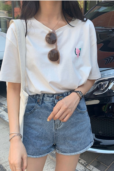 Summer Hot Popular White Short Sleeve Round Neck Letter Rose Printed Casual Loose T-Shirt