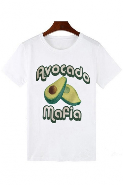Summer Hot Trendy Funny Cartoon Avocado Printed White Round Neck Short Sleeve T-Shirt, LC554194, Color 1;color 2;color 3;color 4;color 5;color 6;color 7;color 8;color 9;color 10;color 11;color 12;color 13;color 14;color 15;color 16;color 17;color 18;color