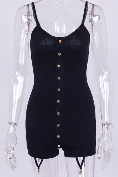 Summer Trendy Plain Straps Sleeveless Button Down Slim Fitted Simple Leisure Rompers