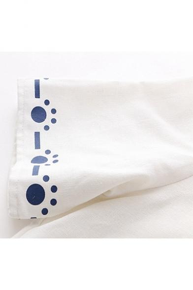Summer Trendy Short Sleeve Colorblock Patch Cat Yarn Ball Printed Sailor T Shirt
