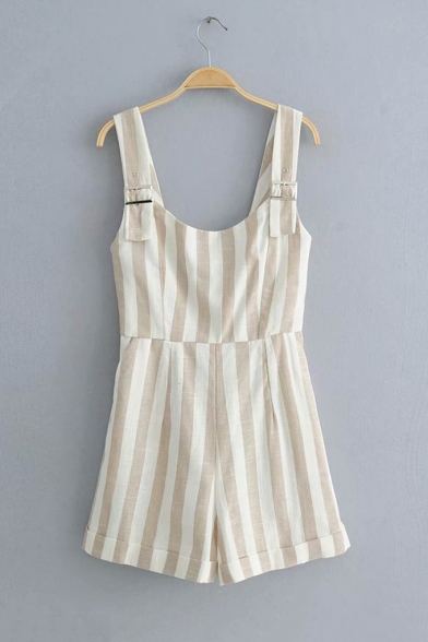 Summer Trendy Straps Sleeveless Vertical Striped Print Casual Loose Rompers