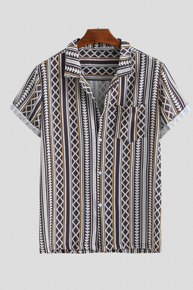 Summer Trendy Vintage Geometric Pattern Button Up Short Sleeve Loose Casual Shirt