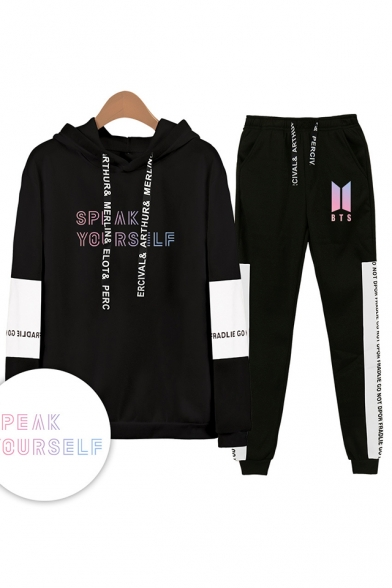Trendy Cool Letters SPEAK YOURSELF Print Patterns Long Sleeve Loose Hoodie with Sweat pants Sport Two Piece Set, Black;white;gray;navy, LM556340