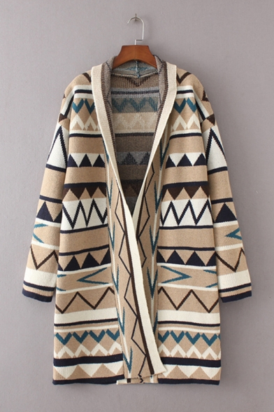 Vintage Geo-Tribal Print Long Sleeve Open Front Cardigan for Women LM556873 фото