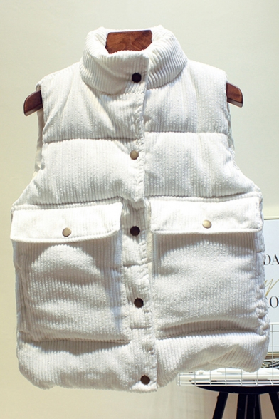 Winter Plain Stand Collar Sleeveless Flap Pockets Corduroy Vest Down Coat