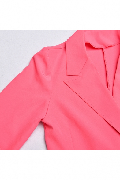 Women Fitted Sexy Notch Lapel Collar Double Breasted Solid Color Longline Blazer Coat with Flap Pockets