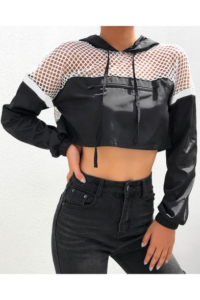 Womens Fashion Black Long Sleeve Mesh Patch Hollow Out Crop Hoodie