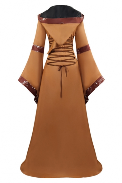 Womens Medieval Vintage Square Neck Extra Long Sleeve Bell Sleeve Lace-Up Front Floor Length Swing Dress
