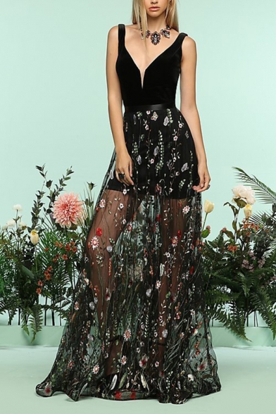 Womens Sexy V-Neck Sleeveless Panelled Floral Embroidery Print Backless Black Cami A-Line Maxi Dress