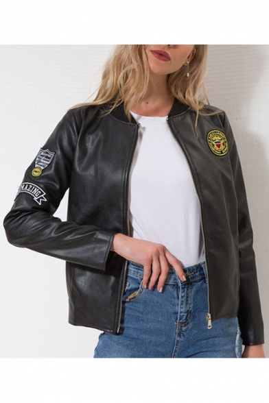 Womens Trendy Black Letter Patched Stand Collar Zip Up Short PU Jacket
