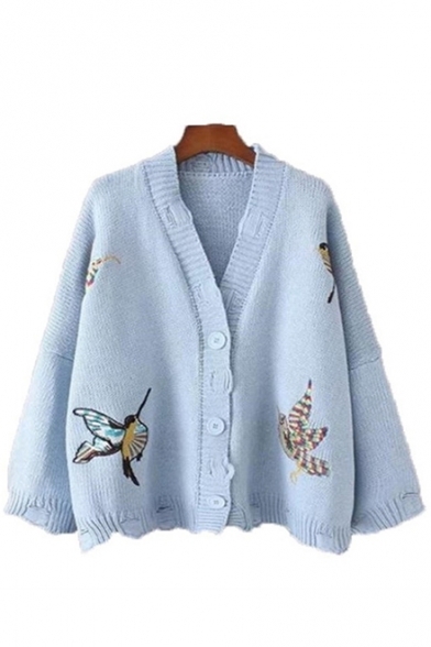 Womens Unique Bird Embroidered Print V Neck Drop Sleeve Boxy Cardigan Coat, LM556914, Pink;beige;light blue;yellow