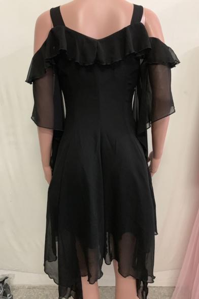 Womens Unique Fashion Cold Shoulder Extra Long Sleeve Flared Sleeve Plain Asymmetrical Dress