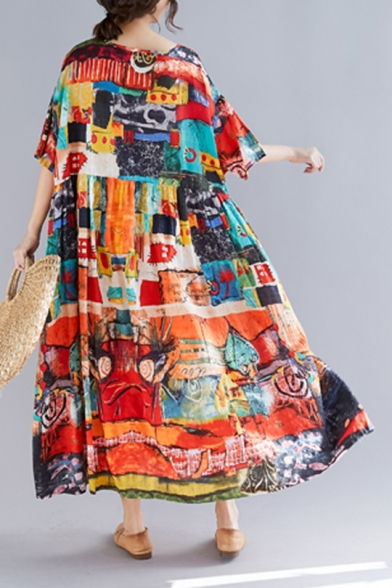 Womens Vintage Round Neck Half Sleeve Graffiti Print Loose Shift Swing Maxi Dress