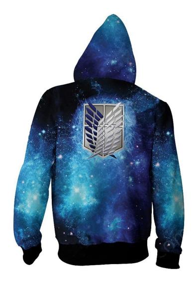 Cool Logo Galaxy 3D Printed Long Sleeve Navy Zip Up Hoodie