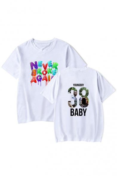 Cool Colorful Letter YoungBoy Never Broke Again Short Sleeve Loose T-Shirt