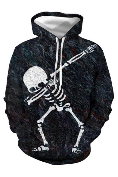 Cool Fashion Skull Skeleton 3D Printed Black Loose Fit Long Sleeve Drawstring Hoodie