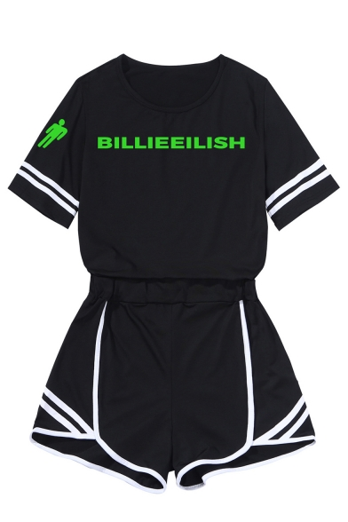 Cool Simple Letter Printed Contrast Stripe Black Short Sleeve Tee with Shorts Two-Piece Set