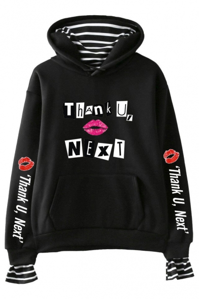 Cool Unique Long Sleeve THANK U NEXT Letter Red Lip Printed Fake Two Piece Pullover Hoodie, Black;pink;white;gray;navy, LM552413