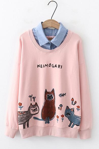 Cute Cartoon Night Owl Printed Patched Lapel Collar Cotton Loose Sweatshirt