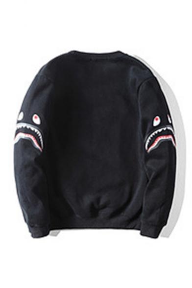 Cute Cartoon Shark Printed Black Long Sleeve Round Neck Casual Plush Pullover Sweatshirts