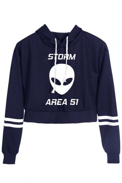 Fashion Storm Area Alien Printed Stripe Long Sleeve Pullover Crop Hoodie