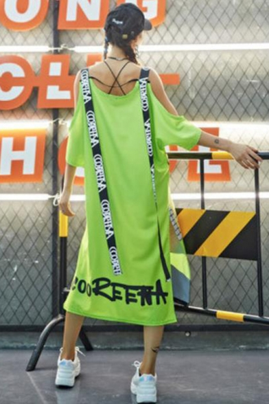 Fashion Street Style Round Neck Short Sleeve Character Print Letter Hollow Slit Ribbons Loose Cami Shift Maxi Dress