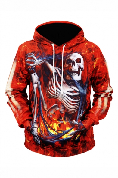 Hot Fashion Halloween Fire Skull 3D Printed Long Sleeve Red Drawstring Pullover Hoodie