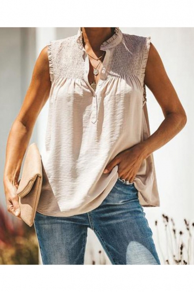 Hot Fashion Pleated Patched V-Neck Sleeveless Plain Blouse Top