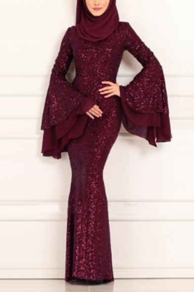 Hot Fashion Round Neck Tiered Ruffle Sleeves Sequined Plain Bodycon Dress
