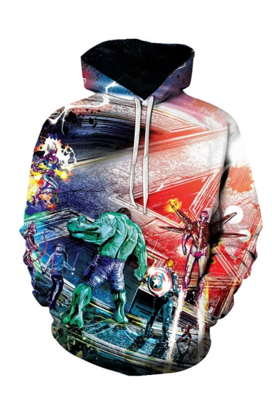 Hot Trendy Comic Figure Galaxy 3D Printed Long Sleeve Multi-colored Pullover Drawstring Hoodie