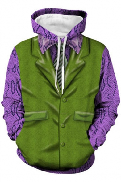 Hot Trendy Colorblock Comic 3D Printed Purple and Green Long Sleeve Pullover Drawstring Cosplay Hoodie